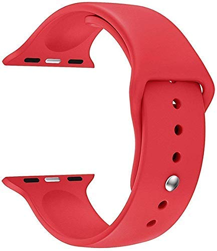 LineOn Soft Silicone Sport Strap Band for iWatch 42mm / 44mm Apple Watch Series 1/2/3/4/5 (Red)