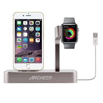 Archeer 2 en 1 Soporte de Apple Watch iPhone 6s , Soporte del Cargador con 8 Pines del Conector Lightning de Estación de Carga de Apple para el iPhone ...