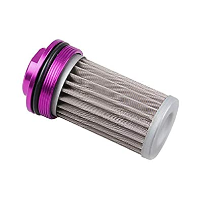 SUPERFASTRACING SS AN6 AN8 AN10 Inline Fuel Filter High FLOW 100 Micron Cleanable Black-Purple: Automotive