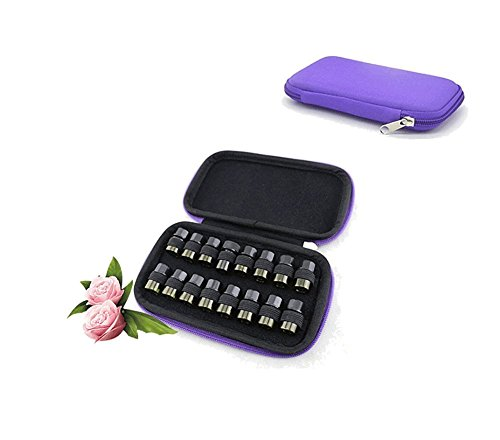 Portable Essential Oil Carrying Case for 16 Bottles (2ml/3ml) - Essential Oil Travel Case Hard Shell Case - Perfect for doTERRA, Young Living Bottles for Aromatherapy Travel or Storage (Purple)