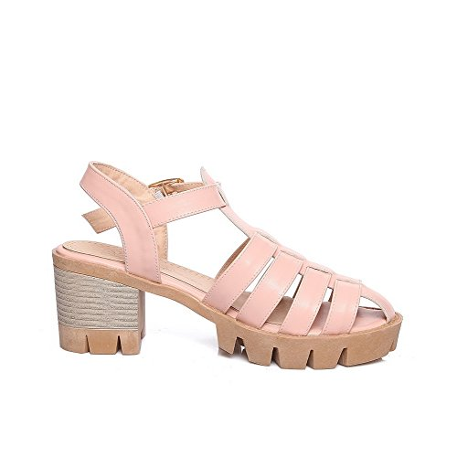 Allhqfashion Donna Fibbia Open Toe Kitten Tacchi Solidi Piattaforme-sandali Rosa