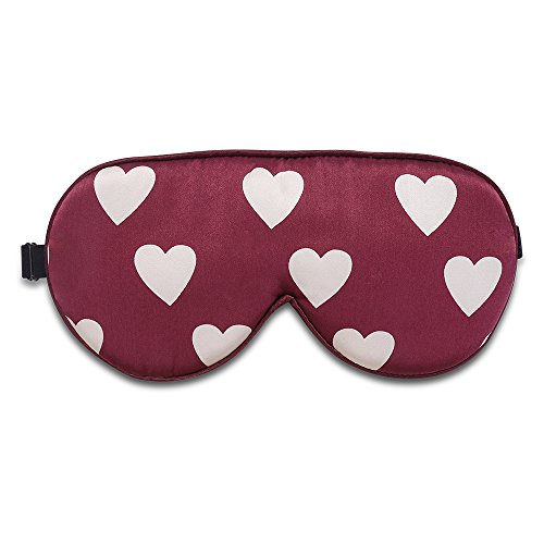 Alaska Bear Natural Silk Sleep Mask, Blindfold, Super Smooth Eye Mask (Red Hearts)