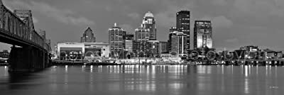 Louisville Skyline PHOTO PRINT UNFRAMED DUSK Sunset Black & White BW City Downtown 11.75 inches x 36 inches Kentucky Photographic Panorama Poster Picture Standard Size