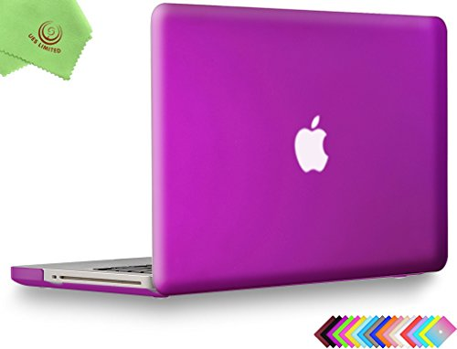 UESWILL Smooth Soft-Touch Matte Hard Shell Case Cover for MacBook Pro 13 inch with CD-ROM (Non-Retina) (Model A1278) + Microfibre Cleaning Cloth, Deep Purple