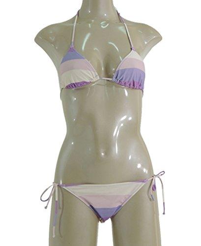 Sundek Bikini 's Mujer, gestreifer Triángulo y regulable Slip con rosefarbigen y lilafarbigen cordones w101knly140