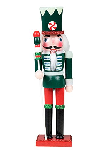 "Wooden Candy Soldier Nutcracker | Traditional Christmas Decor | Red, Green & White Uniform with Peppermint Hat | Perfect for Any Collection | Perfect for Shelves & Tables | 100% Wood | 10"" Tall"