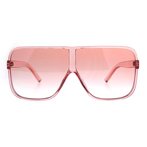 Womens Oversize Mob Color Flat Top Sport Racer Sunglasses - Sunglasses Sport Top