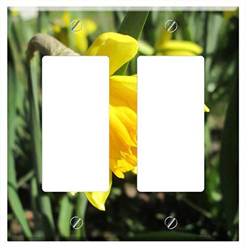 Switch Plate Double Rocker/GFCI - Daffodil Yellow Daffodil Easter Lilies Garden