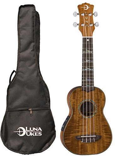 Luna High Tide Koa Acoustic/Electric Soprano Ukulele with Preamp & Gig Bag