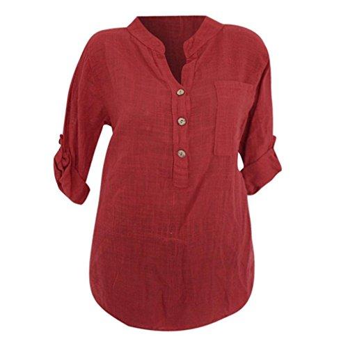 ABCone-Donna Pullover Felpa Tasca Solida traslucida con Scollo a V T-Shirt Maniche Lunghe Elegante Autunno Camicette Camicie Casual Tops Rosso