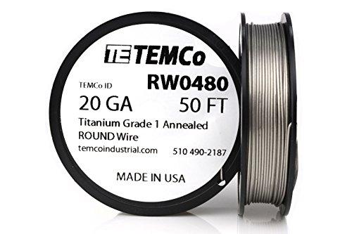 TEMCo Titanium Wire 20 Gauge 50 FT Surgical Grade 1 Resistance AWG ga