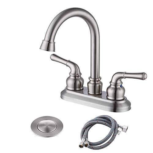 (KES LEAD-FREE BRASS Two Handle Bathroom Faucet with Drain Assembly Lavatory Vanity Sink Faucet 4-Inch Centerset Morden Square Hotel Style Brushed Nickel, L4109A3LF-BN)