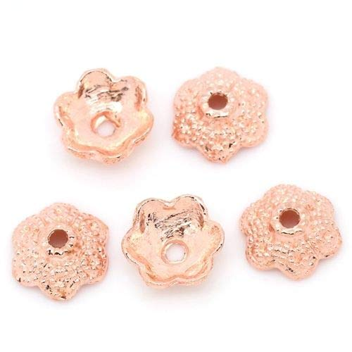 t Rose Gold Flower Thick 11mm Domed Bead Caps 20pc ()