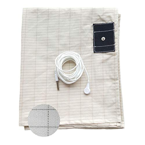 Earthing Sheets Grounding King Size with Cord, Conductive Mat with Pure Silver Fiber for Grounding, Earthing Connection, Reduced EMF, Better Sleep, Healthy Earthing Energy, Natural - Mat Conductive