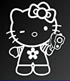 hello kitty gun car decal - HELLO KITTY w/ HAND GUN SANRIO LOGO VINYL STICKERS SYMBOL 5.5