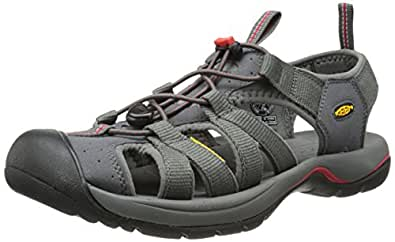 KEEN Men's Kanyon Sandal, Magnet/Mars Red, 15 M US