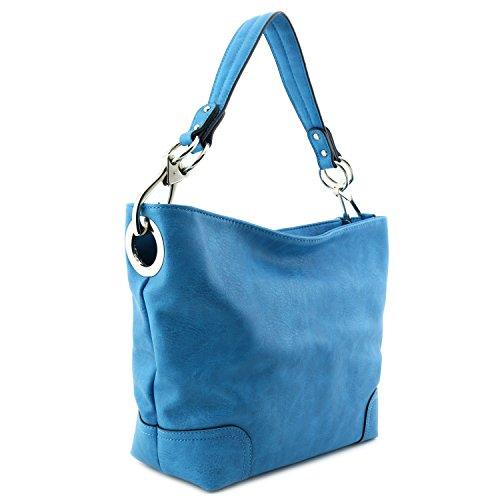 Hobo Shoulder Bag with Big Snap Hook Hardware (Turquoise) ()