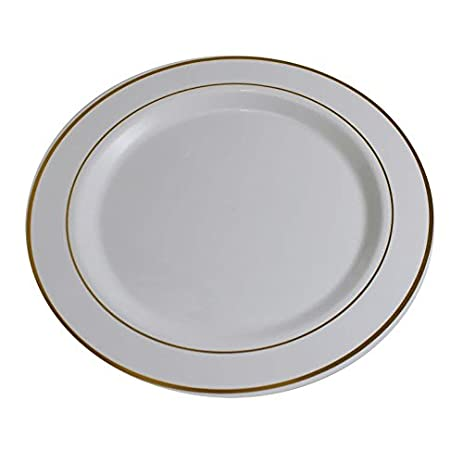 Gold On White Line Design Premium Plastic Wedding Dessert Plates (40 Pack) China-  sc 1 st  Amazon.com & Amazon.com | Gold On White Line Design Premium Plastic Wedding ...
