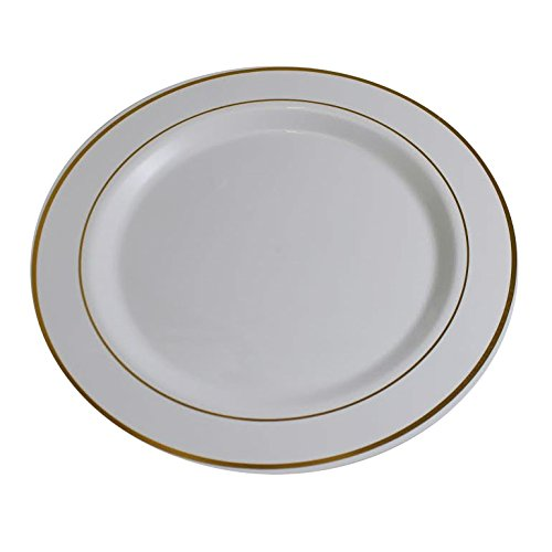 Gold On White Line Design Premium Plastic Wedding Plates (40 Pack) China-Like Heavy Duty Plastic Plates (9 Inch.)