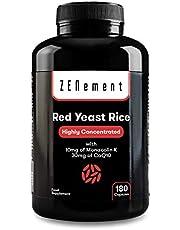 Rode Gist Rijst sterk (geconcentreerd) met 10 mg monacolin K en 30 mg co-enzym Q10, 180 Capsules   100% veganistisch, GMO, vrij van additieven, gluten, vrij Citrinine