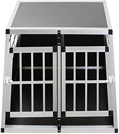 Lars360 Alu Hundetransportbox Hundebox Reisebox Transportbox Gitterbox Mit Mdf Platten Für Pkw Transport Kleiner Haustier M Größe Mit 2 Türig Schwarz B50 H89 T69 Cm Haustier