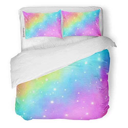 - Tarolo Bedding Duvet Cover Set Blue Rainbow Magic Dream Glow Abstract Pink Unicorn Beautiful Bokeh Bright 3 Piece Queen 90