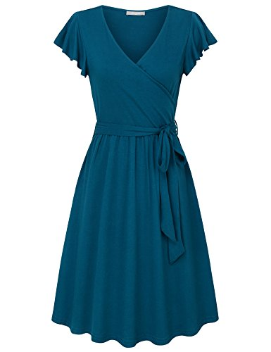 Furnex Dress for Women, Women's Vintage 1950s Coctail Party Dress Sexy Cross V Neck Fashion Midi Dresses with Belt(Deep Cyan,Large) ()