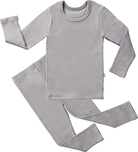 (AVAUMA Baby Boys Girls Solid Pring Pj Set Kids Pajamas Long Sleeve Cotton (Light Gray-1 X-Large))