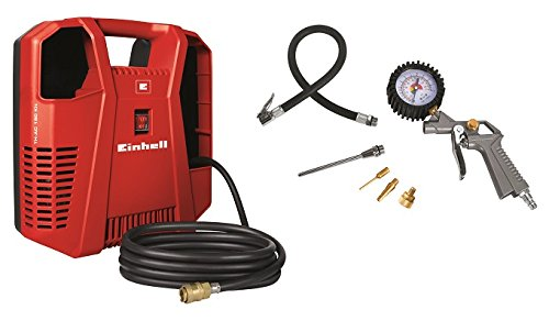 Einhell Kompressor TH-AC 190 Kit (1,1 kW, Ansaugleistung 190 l/min, 8 bar, ölfrei, inkl. Schlauch, Reifenfüllmesser, Ausblaspistole, Adapterset, tragbar)