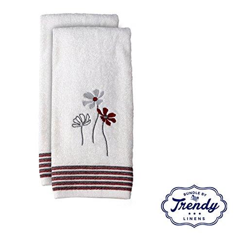Evan Stipe White Hand Towels - Bathroom Shower Collection -