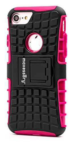 iPhone 7 Case, iPhone 8 (4.7 inch) Case, Maxessory Hot Pink Offroad Shock-Proof Rugged Dual-Layer Armor Rigid Ultra-Slim Kickstand Protective Hard Tough Hybrid Phone Cover Shell