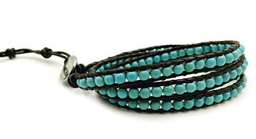 BLUEYES COLLECTION 3 Wrap Leather Bracelet -Open Minded- Charming Turquoise Gemstone 4mm Bead - Bead Necklace Turquoise Wrap