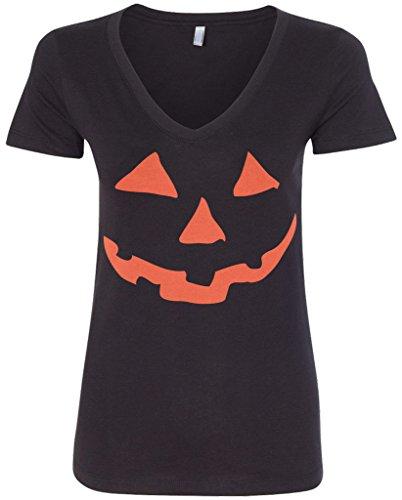 Threadrock Women's Orange Halloween Pumpkin Face V-Neck T-Shirt M Black ()