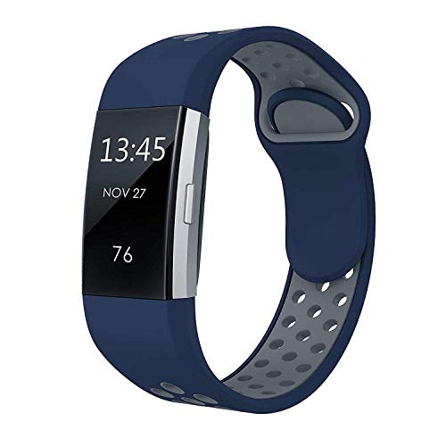 SWEES Silicone Sport Bands Compatible Fitbit Charge 2, Breathable Sport Replacement Bands with Air Holes Small & Large (5.7 - 8.3) for Women Men, Black, Grey, Navy Blue, Pink, White, Teal