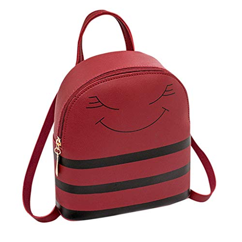SCHOLIEBEN Girl Smiley Headphone Hole Backpack Slung Shoulder Bags Mobile Phone Purse