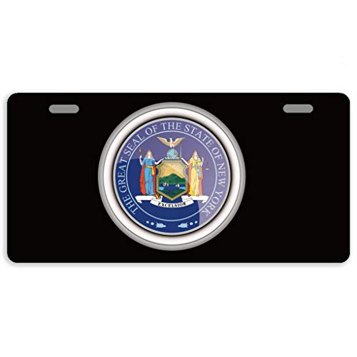 Eprocase License Plate Cover Automotive License Plate Novelty Car Tag Metal Decorative Tags Auto Sign Front License Plates 2 Holes 11.8 x 6.1 Inches, The Great Seal of The State of New York