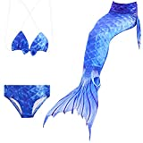 VT BigHome Girls Swimmable Mermaid Tails Cosplay Swimsuit Sparkle Mermaid Tail Swimming Princess Dress Kid's Swimwear Easy Add Fin