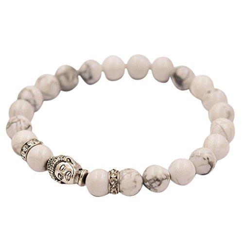 Napoo Women Men Agate Beaded Bracelet Buddha Elastic Tibet Charm Bracelets (White) ()
