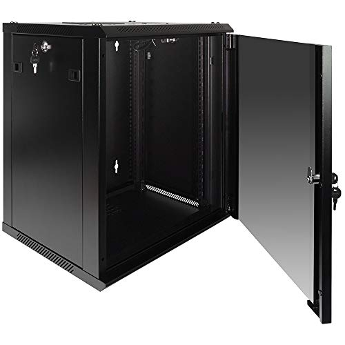 NavePoint 12U Wall Mount Consumer Series Server Cabinet Network Enclosure Locks, Fan