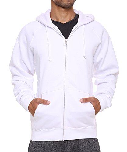 White Sweater Hooded - FORBIDEFENSE Men's Sweatshirt Hoodies Full Sleeve-Front Zip Premium Hood 2 Kangaroo Split Pocket White