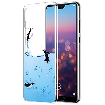 new product 72cd0 b8c18 Huawei P20 Pro Case, Eouine Huawei P20 Pro Phone Case Clear with Pattern  [Ultra Slim] Shockproof Soft TPU Silicone Gel Back Cover Bumper Skin for ...