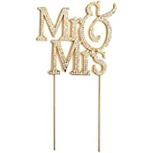 Mr & Mrs Gold-plated Monogram Silhouette Rhinestone Wedding Cake Topper Decoration with Crystals - Formal Font
