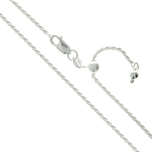 Sterling Silver Adjustable Diamond-Cut Rope Chain 1.7mm Solid 925 Italy New Necklace 22