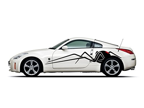 Picniva Black Widow Spider Racing Car Body Side Stripes Sticker Decal 2 Pcs