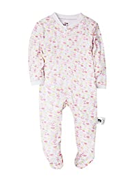 Baby Girls' Footed Pajama - 100% Cotton Zip Front Romper