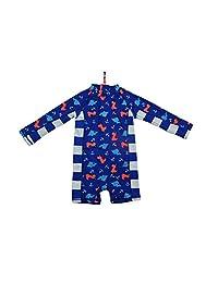 Sunout Kids Boy UPF 50+ Sun Protection L/S One Piece Zip Sunsuit Free Sun Hat