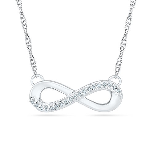 10k infinity pendant in white gold and diamonds 005 cttw with 16 10k infinity pendant in white gold and diamonds 005 cttw with 16 rope chain usame aloadofball Gallery