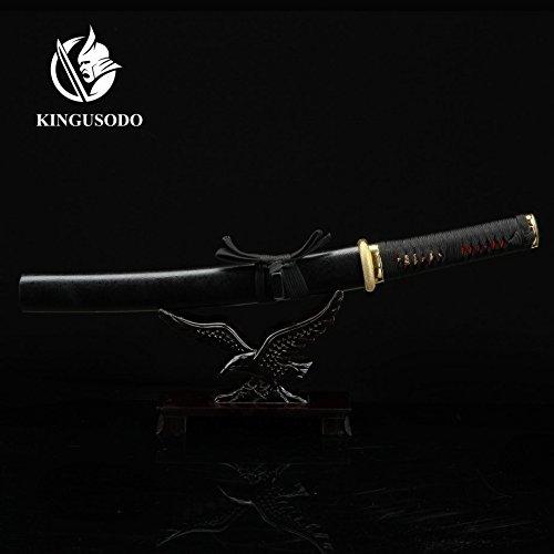 kingusodo Full Tang Tanto Sword, Short Carbon Steel Real Sword Sharp with Wooden Saya