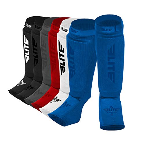 e357727e9303 Elite Sports New Item Protective Kickboxing, MMA, Muay Thai Shin & Instep  Guards Leg Pad Training Protective Gear Washable (S-M, Blue)
