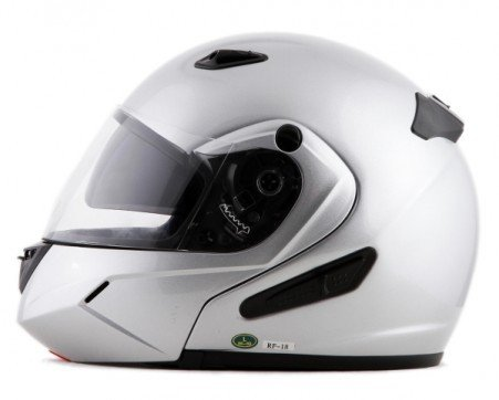 DOT Silver Vented Dual Visor Modular Full Face Motorcycle Helmet (Size L, LG, Large)